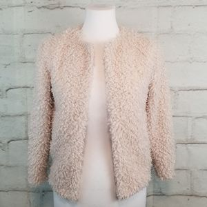H&M Blush Pink Cozy Open-Front Teddy-Bear Sweater